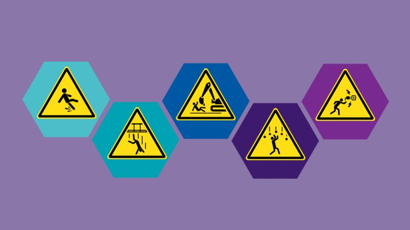 Workplace hazard signs: slipping, falling down shaft, collision with construction equipment, falling objects, electrocution.