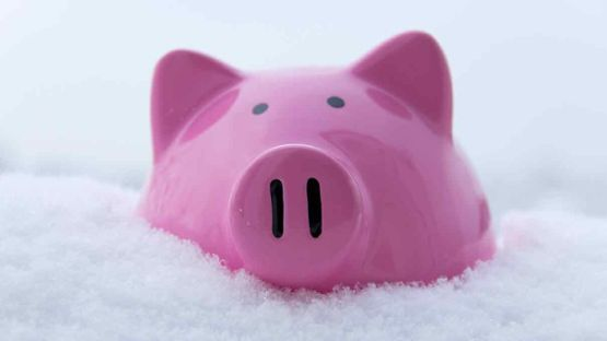 Pink piggy bank to save money.