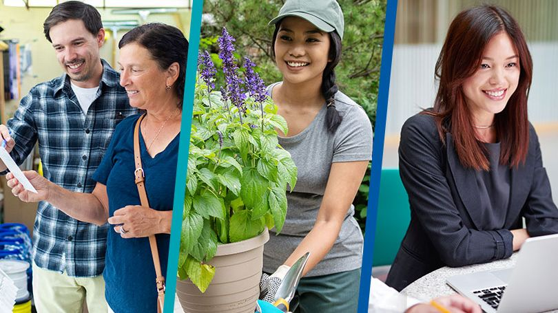 Collage with a male paint shop owner showing paint samples to a female shopper, a female arborist carrying a plant outdoors, and a female business professional with an open laptop at a desk.