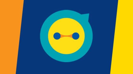 Aviva Ally icon against blue background with bright stripes on sides