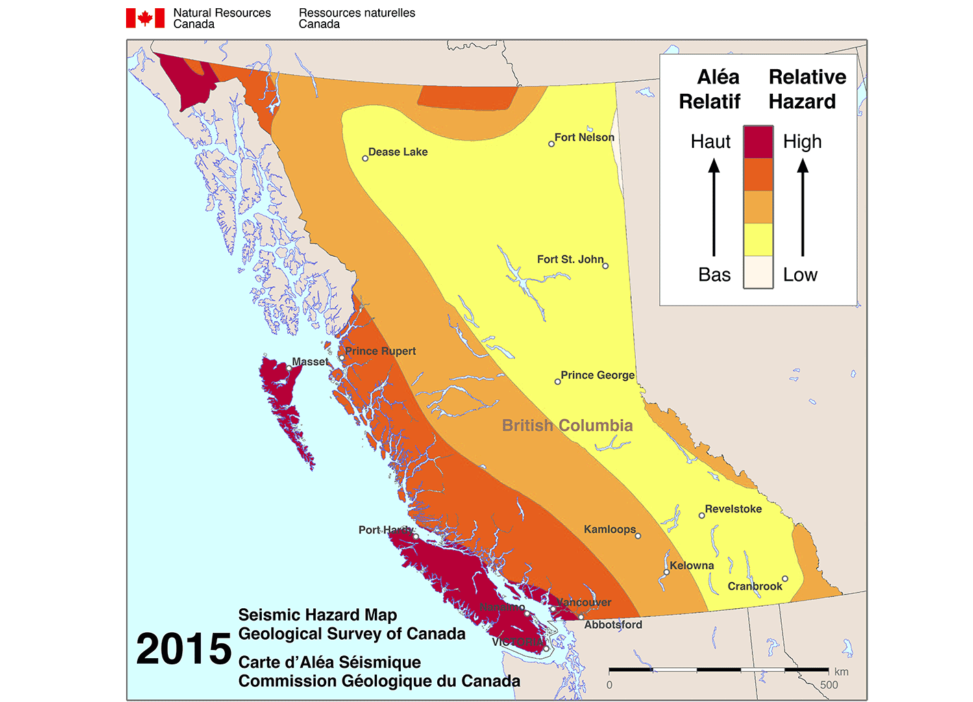 2015 Seismic Hazard Map - Geological survey of Canada